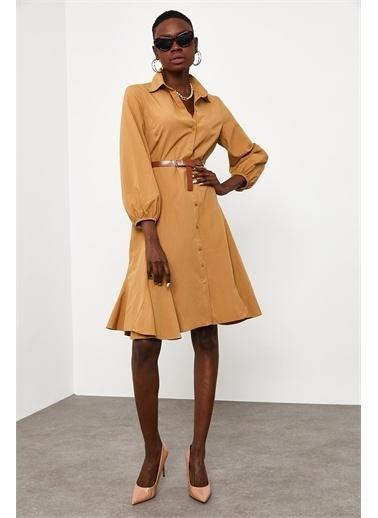 XHAN Taba Kemer Detaylı Gömlek Elbise 1Kxk6-44828-30 Taba